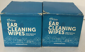 Lot of 2! NEW Zesty Paws Ear Cleaning Grooming Wipes Pads Chamomile Oatmeal Aloe