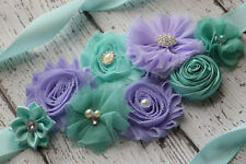 Flower Sash, aqua violet Sash,#2 , flower Belt, maternity sash