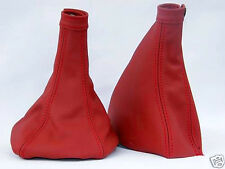 FITS ALFA ROMEO 156 1998-2002 GEAR+HANDBRAKE GAITER RED LEATHER DOUBLE STITCH
