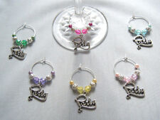 6 PARTY wine glass charms dinner party gift idea