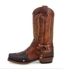 Mens Fashion Two Tone Embroidered Zipper Mid Claf Western Cowboy Boots Shoes BE@