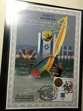 Israel 2004 Olympic Souvenir Leaf Gold Medal Athens Mint Unhinged New