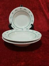 """Longaberger Woven Traditions Heritage Green Set of 3 Rimmed Soup Bowls 8 1/8"""""""