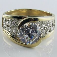 R31705 14K Gold CZ 3ct total 1.5 carat round bezel center pave accent ring
