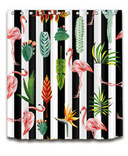 "72"" Tropical Flamingo Cactus Palm Leaf Fabric Shower Curtain Liner Bathroom Set"