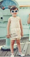 NWT Janie and Jack TEAL GARDEN 18 24 M 2 3 4 5 Dot Skirted Romper Cotton $46 Tan