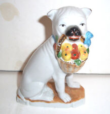 Antique Porcelain Sitting Pug Dog With Basket in Mouth With Fruit  c1900
