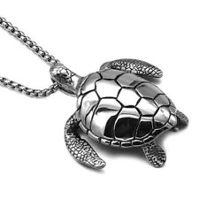 Unisex Silver Stainless Steel Sea Turtle Necklace Pendant No Chain Xmas