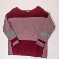 VINCE Wool Cashmere Blend Stripe Print Pattern Boat Neck Pullover Sweater Blouse