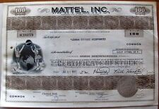 Stock certificate Mattel, Inc. 1971 100 shares state of Delaware