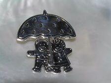 Estate Best Signed Silvertone Boy and Girl Under Umbrella Pendant Pin Brooch Com