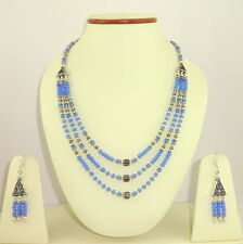 NATURAL BLUE CHALCEDONY FACETED BEADED GEMSTONE NECKLACE & EARRINGS 49.5 GRAMS