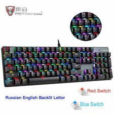 CK104 Gaming Mechanical Keyboard Russian English Red Switch Blue Metal Wired LED
