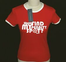 Women's French Connection Football Wanna Find My Penalty Spot T Shirt Small Red