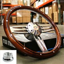 "14"" Polished Dark Wood Steering Wheel Bowtie Horn For 1974-94 Chevy Pickup Truck"