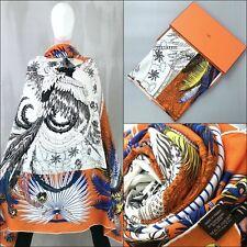 NEW Hermes Orange Mythiques Phoenix CASHMERE SILK 140 cm XL Large Shawl Scarf