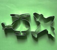 Areoplane helicopter baking fondant biscuit metal stainless cookie cutter set