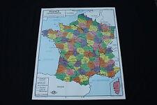 Affiche Scolaire vintage France Départements Population 90,5*75,5 cm rossignol