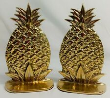 """Vintage Pineapple Shaped Solid Brass Book Ends 6"""" tall ~Excellent~"""