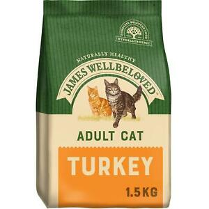 1.5kg James Wellbeloved Adult Dry Cat Food Biscuits Turkey
