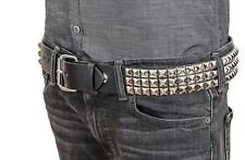 "Three Row 1/2"" Pyramid Stud Leather Belt Punk, Metal,Thrash,Sid Vicious USA Made"