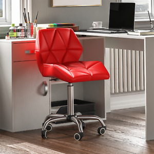 Computer Office Chair Home Cushioned Leather Low Back Swivel Adjustable Red