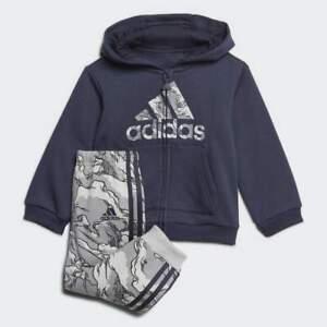 adidas infant boys legend ink/grey logo zip up hooded tracksuit. Various sizes!
