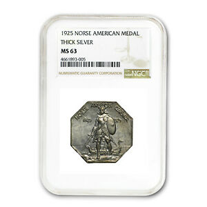 1925 Norse-American Centennial Medal MS-63 NGC (Thick) - SKU#44027