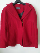 NEW Sample Antipodium Red Wool Boucle Dark Habit Cape Size: S RRP: $348 READ