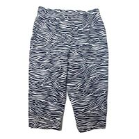 SUSAN GRAVER Black White Zebra Animal Striped Cropped Pants Capri Womens Size 10