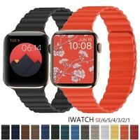 Magnetic Leather Watch Band For Apple iwatch Series 6 5 4 3 2 1SE 38/40/42/44mm
