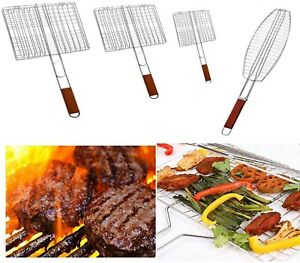 BBQ Outdoor Cooking Barbecue Metal Grill Meat Grilling Basket Rack Square NEW