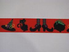 "halloween hat cat spooky grosgrain ribbon 7/8"" per 1 mtr hair scrapbooking cards"