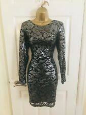 Lipsy Black Silver Party Evening Sequinned Mini Occasion Bodycon Dress Sz 10 £75