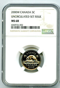 2000 ' W ' MINT MARK  CANADA 5 CENT NGC MS68 UNCIRCULATED NICKEL POP=6 RARE