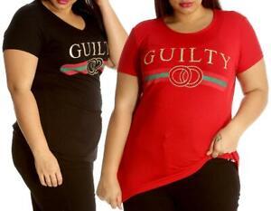 Womens Plus Size T-Shirt Ladies Top Guilty Print Stripes Soft Sale Crew Neck