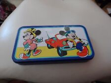 Vintage Disney Mickey and Minnie Mouse blue pencil tin from the Tin Box Company