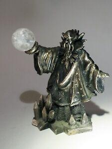 The Wizard of Winter Pewter Tudor Figure w Crystals & Big magic Crystal ball UK