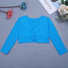 Girls Kids Ballet Dance Wrap Tops Knit Long Sleeve Cardigan Sweaters Dancewear