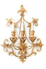 Large Italian Gold Gilt Bronze 3 Arm Wall Sconce Giltwood Fleur De Lis Flowers