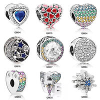 Heart Shape European CZ 925 Silver Crystal Charm Beads Fit Bracelet Necklace