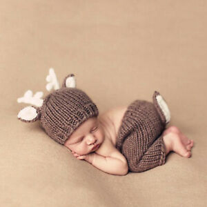 2Pc Newborn Baby Photography Props Outfits Boy Girl Hand Knit Cotton Clothes