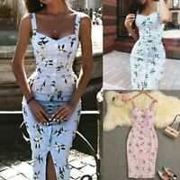 Gown Summer Evening Sleeveless Bodycon Dress Party Bandage Floral Women