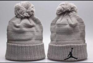 Jordan Jumpman Winter Knit Beanie Cuffed POM Adult Unisex Hat Gray/Black - New