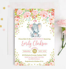For girls baby shower greeting cards invitations ebay elephant baby girl shower invitation pink gold floral party invite rose confetti m4hsunfo