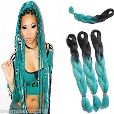 5Pcs Ombre Green Kanekalon Synthetic Jumbo Braiding Hair Extensions Twist Braids