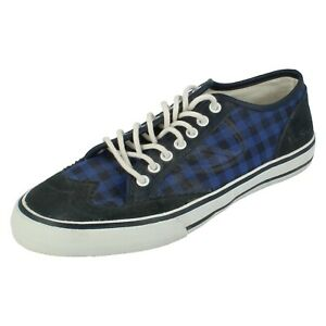 Mens Ben Sherman Lace Up Canvas/Suede Leather Blue Check Shoes BS123001