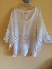 White Cotton Crochet Lace Peasant Blouse Boho Tunic w/Embroidery Sz XL ADORE