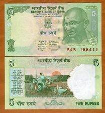 India, 5 Rupees, 2010, P-New, UNC > Gandhi, Tractor