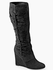 New Boots Shoe Size 10 Womens Black Amore Sexy Wedge Heel Tall Mid Calf Boot $79